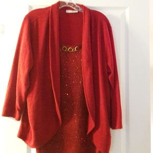 Red sparkly attached cami and cardigan